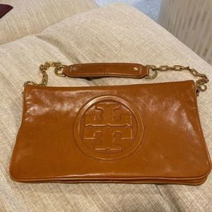 Tory Burch Leather Reva Clutch Shoulder Bag Brown